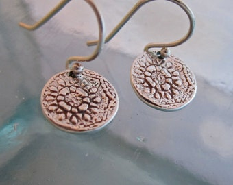 Handcrafted Silver Lace Earrings, Small