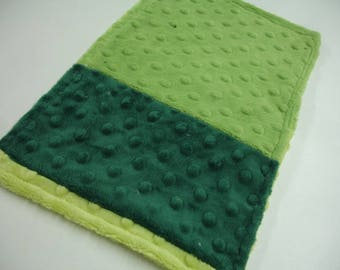 Green Ombre Double Sided Minky Burp Cloth  7 x 12 READY TO SHIP