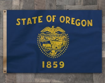100% Cotton, Vintage Style, Flag of Oregon,  Made in USA