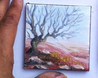 """Mini Oil Painting Tree Silhouette  3""""x 3"""" READY to SHIP"""