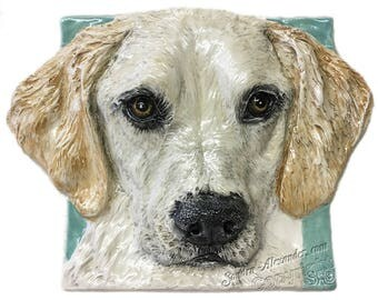 Yellow Labrador Retriever Ceramic Portrait Sculpture 3D Dog Art Tile by Sondra Alexander ready to ship