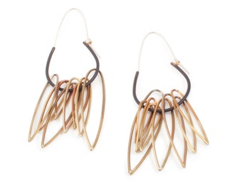 Fringed Hoop Earrings in Black and Clear Powdercoated Brass