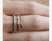 20% Off Mothers Day Sale 14k Rose Gold Twig and Silver Bands Ring Set|  Stacking Rings Set