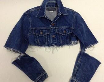 Raw Destroyed Tattered Cropped Vintage denim jacket