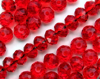 7mm Red Rondelle Crystal Beads - Set of 50 - Cherry Red Glass Beads (CBD0191)