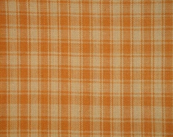FLAWED Cotton Homespun Fabric | Plaid Fabric | Quilt Fabric | Home Decor Fabric | Craft Fabric | Light Brown Plaid Fabric | 1 Yard
