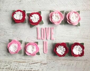 Wool Felt Flowers - Valentine Bloomettes - Darling little flowers - pink wool felt - red wool felt