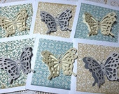 Gray Blue Beige 3D Butterfly Gift Cards Set of Six Faux Gems Monarch Fly Flutter By Lunchbox Love Notes Wings Pattern Handmade Shower Bridal