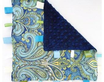 YATOIL TAG LOVEY / Paisley satin print with navy minky dimples and coordinating ribbons / Security