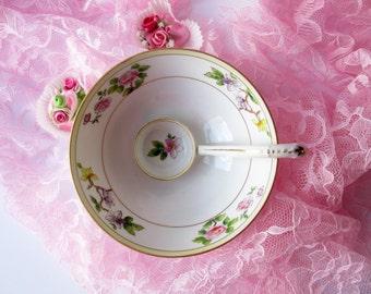 Vintage Nippon Floral Sauce Bowl with Spoon - Weddings Tea Parties Bridal
