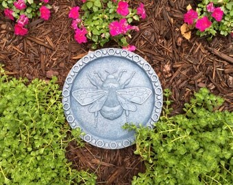 Bumble Bee Stepping Stone (Blue)  Garden Art Sculpture