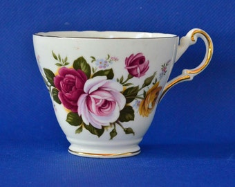 Regency Tea Cup with Pink Roses - English Bone China - Corseted Tea Cup - Pattern RE18 -Floral Design with Roses -Gold Trim -Made In England