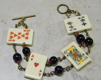 Playing Card Bead Bracelet, Gift for Card Player, Poker Player,Antique Brass Bracelet, Casino Bracelet, Gamblers Gift, Card Bead Bracelet