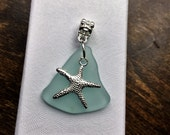 Aqua Sea Glass with Starfish Necklace - Beach Glass - Seaglass