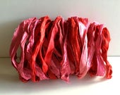 Silk Sari Ribbon-Recycled Red Pink Mix Mix Sari Ribbon-10 Yards