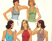 5 Styles of Halter Tops Bust 38 Style 4174 Size 16 Vintage Sewing Pattern