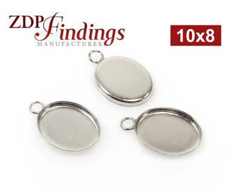 10pcs x 10x8mm Oval Bezel Cup Sterling Silver 925 Low Wall for Gluing (OV1081F)