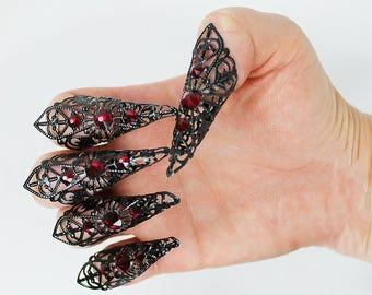 5 pcs Black and Red Fingertip Claws, filigree rings, finger armor, nail armor, fairy claws, dragon claws, mermaid claws, Steampunk