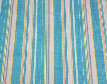 vintage 80s cotton fabric, featuring pretty stripe in a great preppy color palette, 1 yard, 2 available priced PER YARD