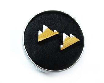 Mountain Earrings, Mountain Studs, Mountain Stud Earrings, The Mountains Are Calling, Mountain Jewellery, Mountain Gifts, Wooden Earrings