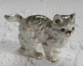 Cat Figurine . white and grey long hair cat figurine . porcelain cat figurine . longhair tabby
