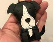 Special Offer - Small size - Peter the pitbull terrier cowhide leather charm ( Black )