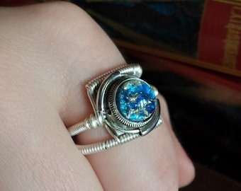 SALE 25% OFF - Steampunk Ring, Blue Harlequin Glass ,Silver tone ring band, Trending now