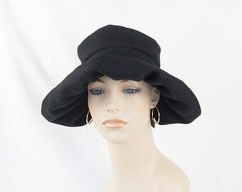 Vintage Hat Black Wool Wide Floppy Brim Scrunch Crown Sz 21.5