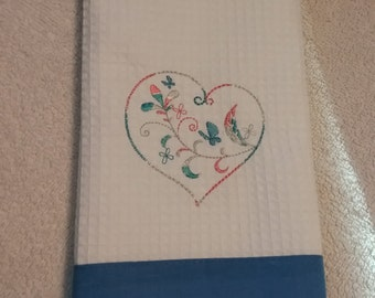 Delicate Heart Embroidered Hand Towel
