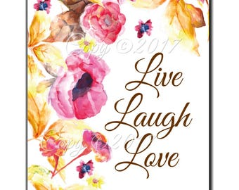 Instant Download - Live Laugh Love - Printable  Saying  Digital Collage Sheet  - Journal - Framable Decor - Gift For Her