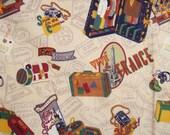 Vintage Cotton Fabric World Travel Tourist Novelty Print Jaclyn Nash Originals 1.5 yd