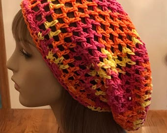 Cotton Open Stitch Slouchy Beanie in Orange, Pink and Yellow
