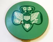 Vintage Green Brass Girl Scout Makeup Compact