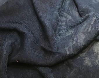 Hand Dyed Dark Denim Blue PAISLEY - Silk Jacquard Fabric - 1 Yard