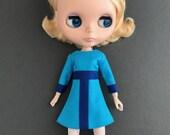 Am I Bleu About You colorbocked dress for Blythe dolls