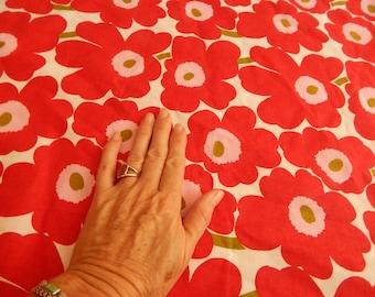 marimekko fabric, floral print, designer fabric, red fabric,small remnant