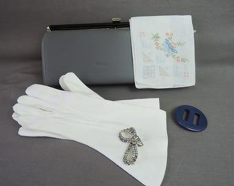Vintage Gift Lot, Clutch Purse,  Long White Gloves, Plastic Belt Buckle, Rhinestone Brooch, Embroidered Hankie