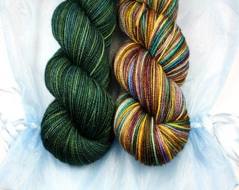 Wind Song Shawl Kit!   The Deep End and Sandman--hand dyed sock weight yarn, merino, nylon and stellina, (438yds/100gr)