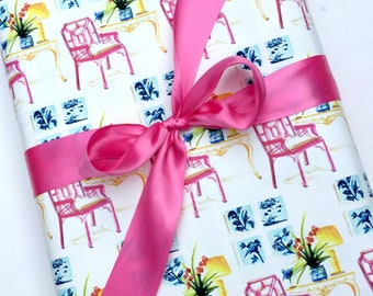 Lilly Pulitzer Chair, Wrapping Paper Roll, Gift Wrap, Pink, Gift Wrap Roll, Chippendale Chair, All Occasion, Original Design