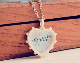 Elena - Sweetheart necklace - vintage style necklace - sweet necklace - blue opal crystal necklace - valentines gift
