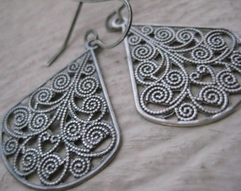 Sahara Earrings- Oxidized, Sterling Silver, Earwires, Rustic, Gift, Filigree