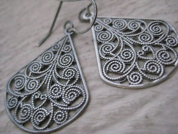 Sahara Earrings- Oxidized, Sterling Silver, Earwires, Rustic, Gift, Filigree