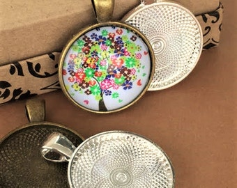 Bezels Pendant Trays 25mm 20 HIGH QUALITY  Silver Plated Round  STURDY 1 inch Settings Antique Brass Jewelry Findings Easy Jewelry Making