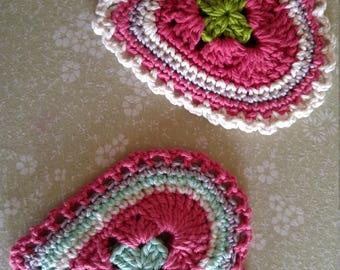 Crocheted heart hot pads