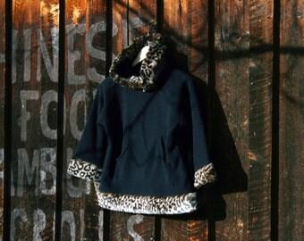 Girls Fleece Hooded Pullover Sweatshirt Faux Fur Leopard Cheetah Trim