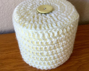 Ivory Toilet Paper Cover Crochet with white Button accent