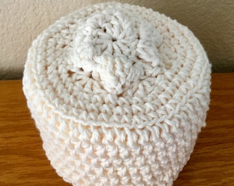 Off White Toilet Paper Cover Crochet