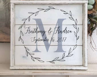WEDDING SIGN | Mr. and Mrs. Sign | Bride and Groom Signs | Shiplap Style Sign | 17 x 15