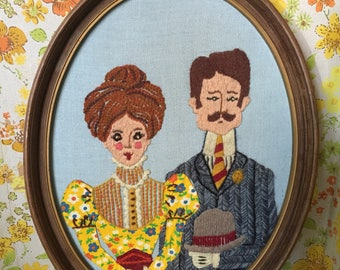Vintage 70s handmade embroidered yarn art Victorian couple oval frame