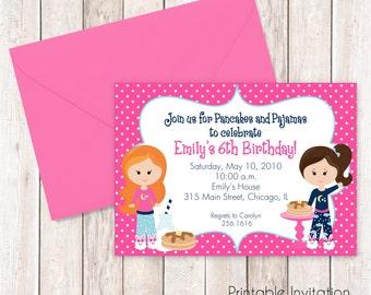 Pancakes and Pajamas Invitation, Sleepover Printable Invitation Design, Custom Wording, JPEG File